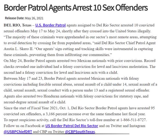 El USBP arresta a 10 ofensores sexuales.