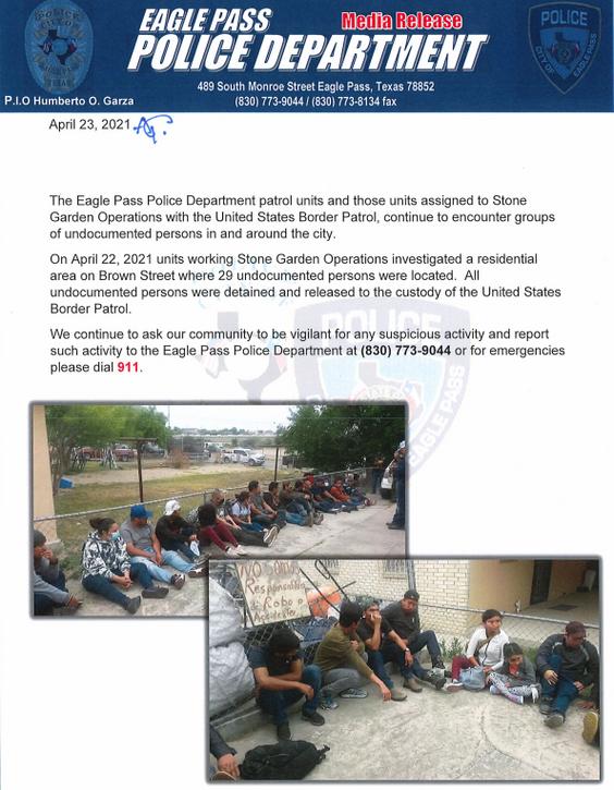 Policia encuentra grupo de 29 indocumentados.