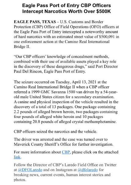 CBP decomisa mas de medio millon de dlls. en drogas.