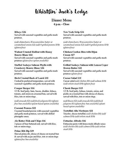 Dinner and Appetizer Menu Front to Back