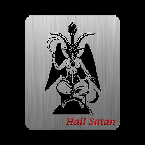 Hail Satan. Placa metálica