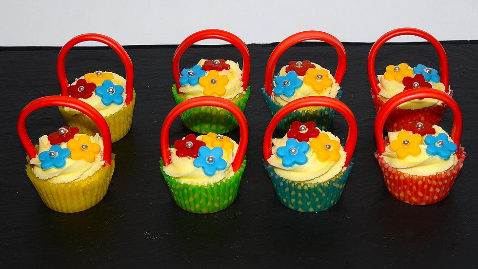 Cup cake flower basket