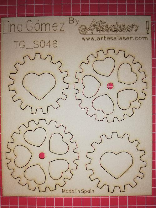 Kit 4 Engranajes corazones