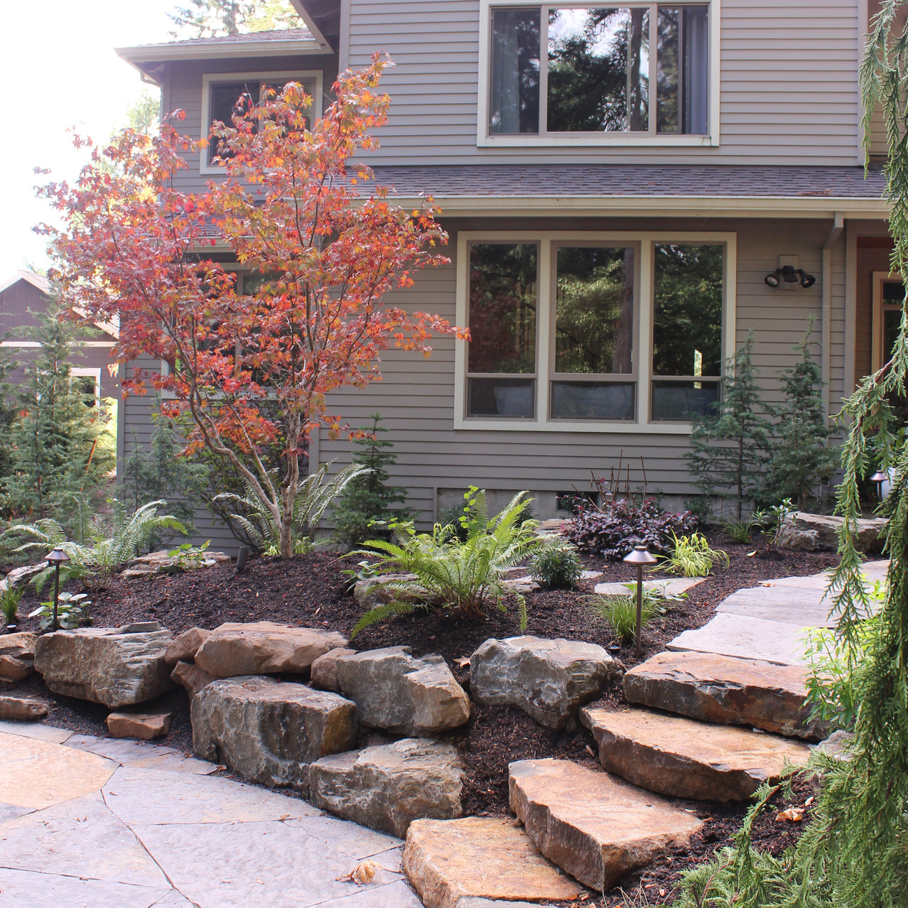 Patio, With Steps and Boulder Wall.JPG