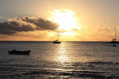 Sonnenuntetgang Segelboote Karibik