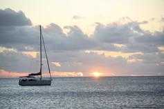 Sonnenuntergang Segelboot Karibik