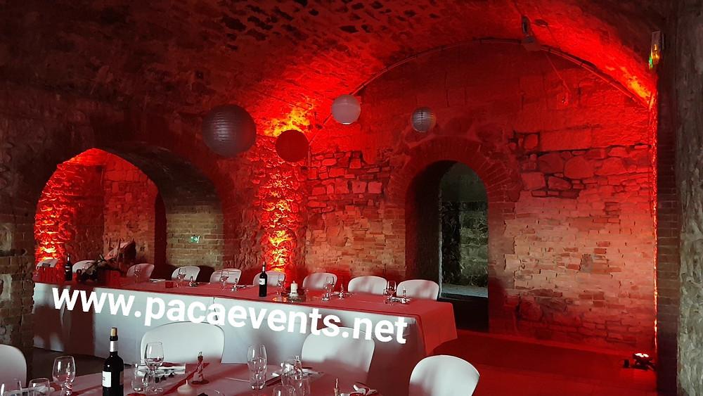 Mise en lumière salle réception by PACA Events au Fort de l'Eguillette à la Seyne-sur-mer