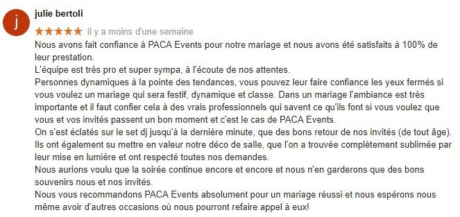 Avis client PACA Events animation DJ soirée mariage saint maximin Domaine Des Sources