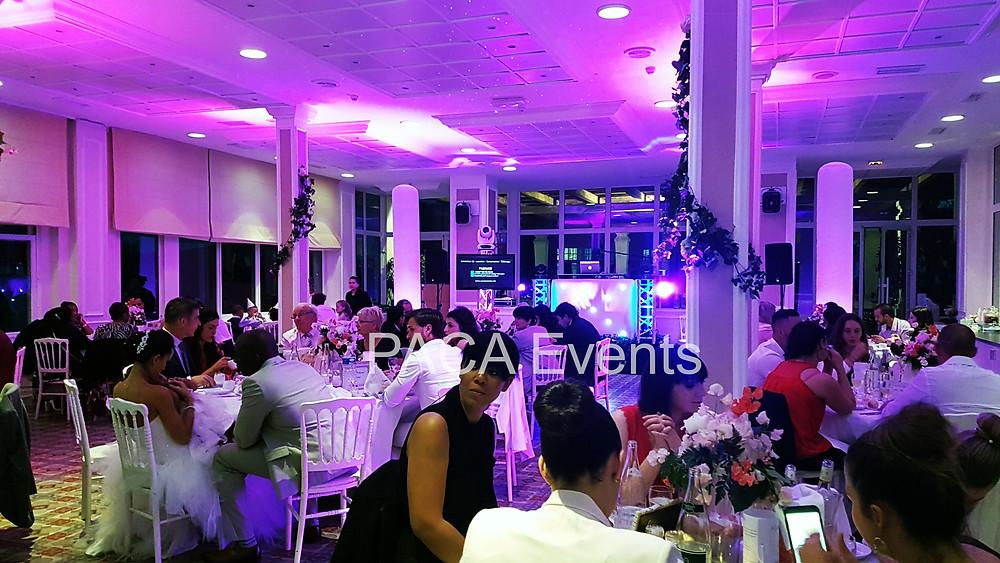Mise en lumière salle réception by PACA Events au Grand Hotel des Lesques à Saint-cyr-sur-mer