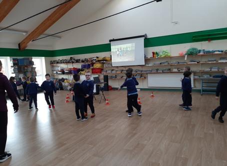 Junior Infants Practicing their Irish Dancing