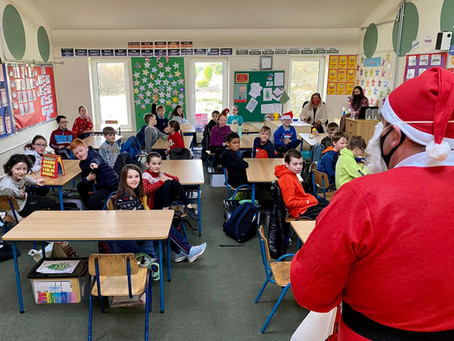 Santa visited our school today and gave everyone some lovely treats which were provided by the P.A.