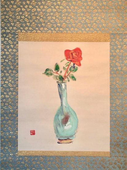 <商談中>梅原龍三郎《薔薇均窯瓶》