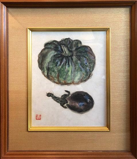 梅原龍三郎《南瓜と茄子》立派な秋野菜たち