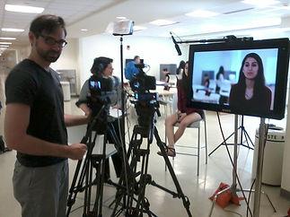 Aaron Lehmann filming at Stony Brook University