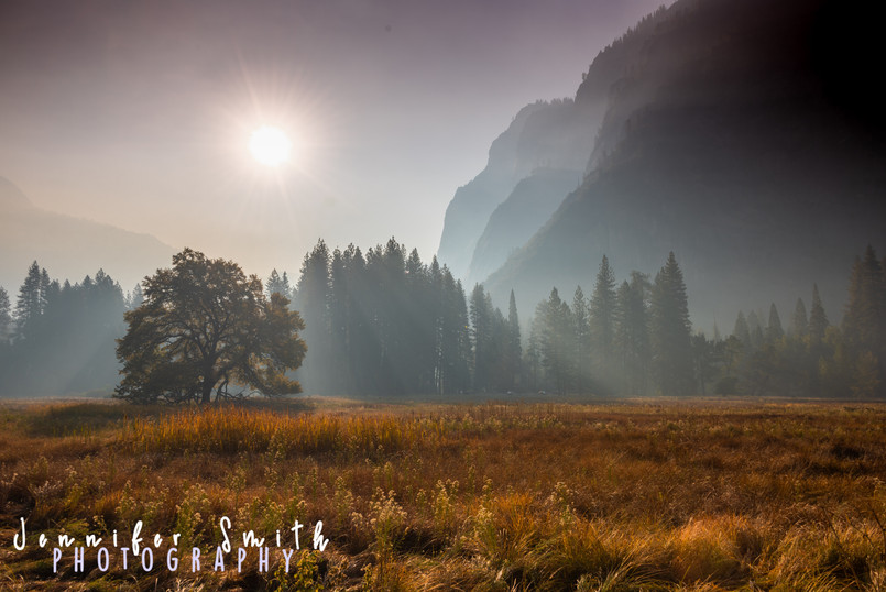 Half Dome Meadows during forest fire