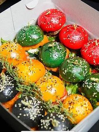 БОКС №8 Аппетитные цветные бургеры (говяжья котлета, бекон, курица...) 4шт/16шт
