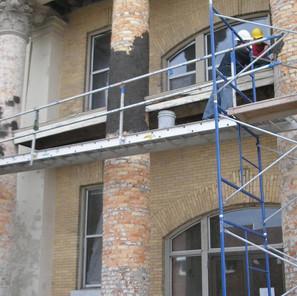 Column preparation prior to new stucco application.