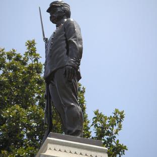 Refinished plaza statue.