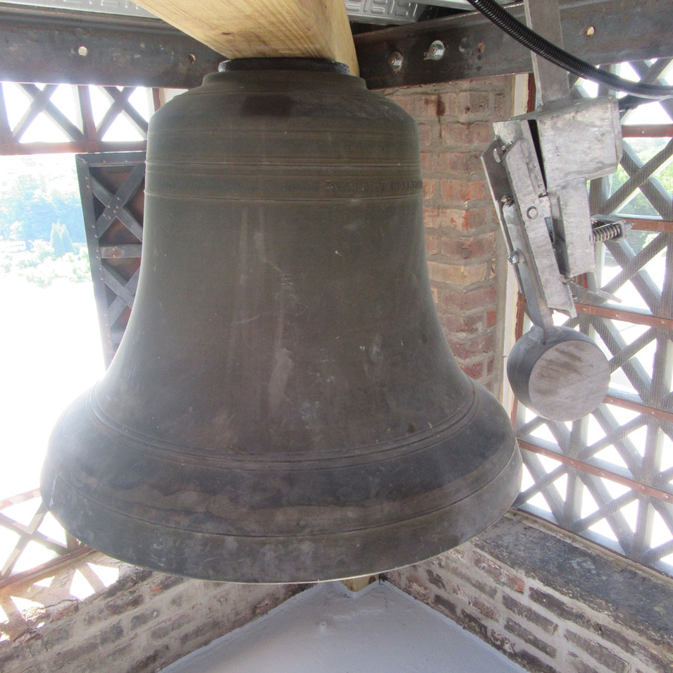 The bell was reinstalled along with new clock works and bell striker.
