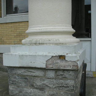 Column base condition prior to repair.