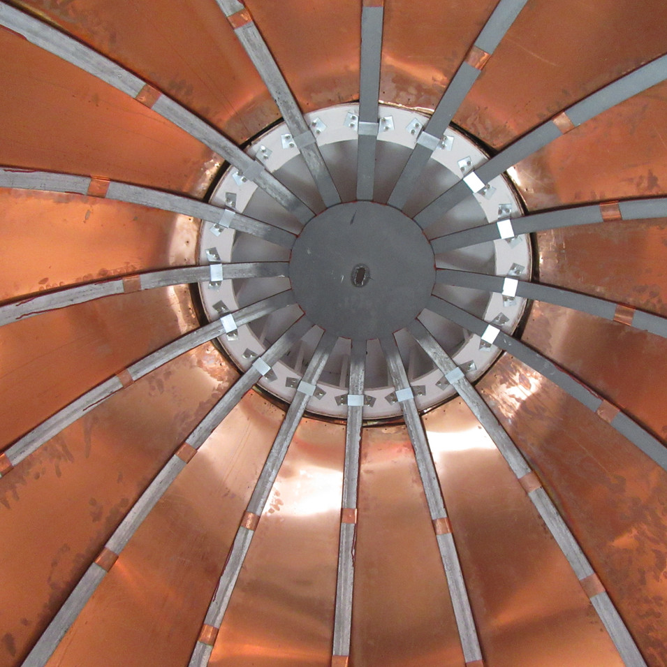 Copper dome was completely rebuilt. The frame was constructed of galvanized steel and covered with 20 oz. copper.