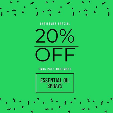 20% OFF all Essential Oil Sprays
