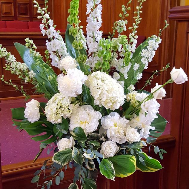 Hydrangea and peoney altar arrangement