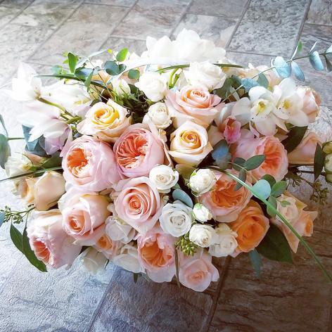 Soft peach color arrangement