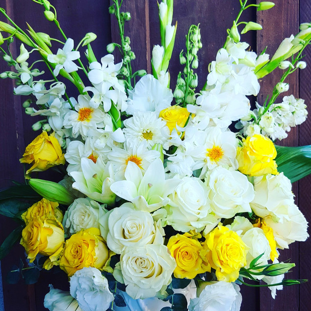 White and yellow arrangement