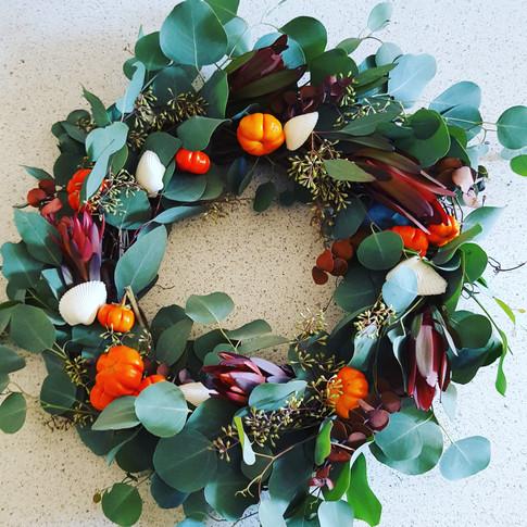 Fall wreath with eucalyptus