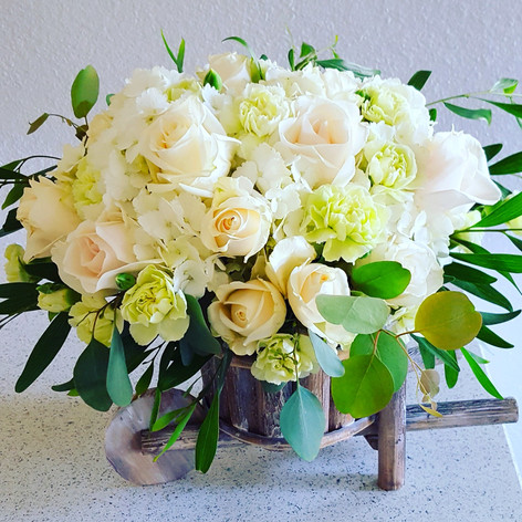 Ivory and green arrangement
