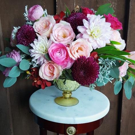 Burgundy and blush pink arrangement
