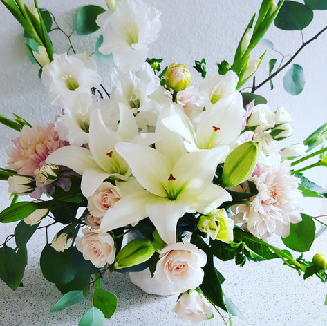 Lily and rose arrangement