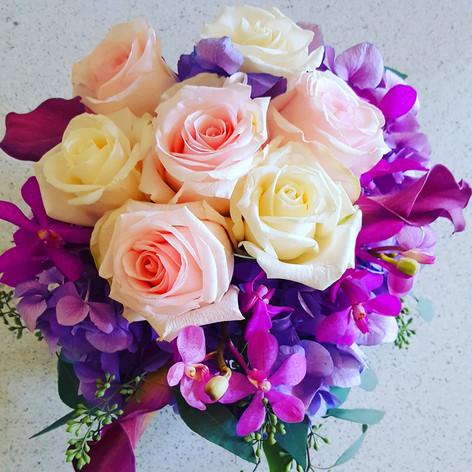 Purple, blush pink and ivory
