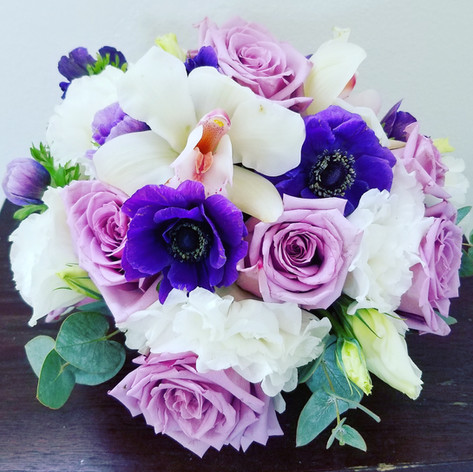 Blue, lavender and white bouquet