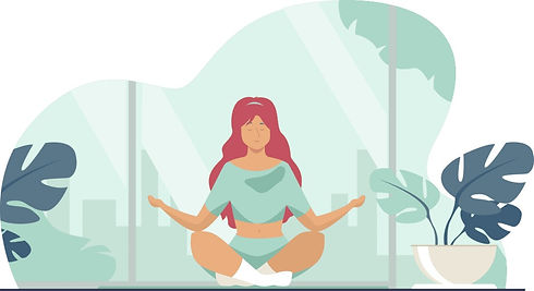 women managing stress at home by meditating