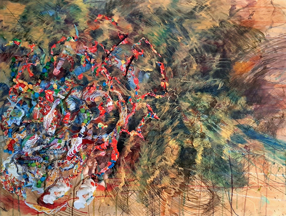 Cloudburst #2, acrylic, collage and charcoal on canvas, Chadwick Moore
