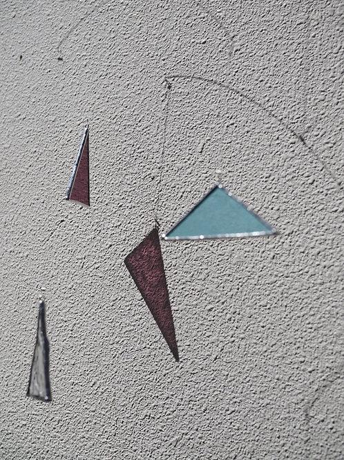 三角ガラスのモビール ステンドグラス