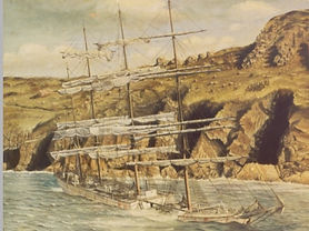 Herzogin Cecilie ship-wrecked and abandoned at Starehole Bay, Devon.