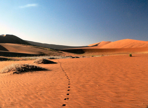 Walking to Dead Vlei Namibia