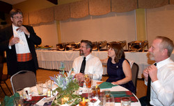 Ralph & Mike adjust ties Jan & Rebecca