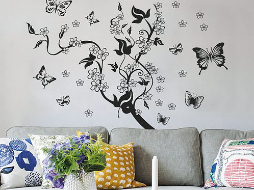 Mural de mariposas y flores