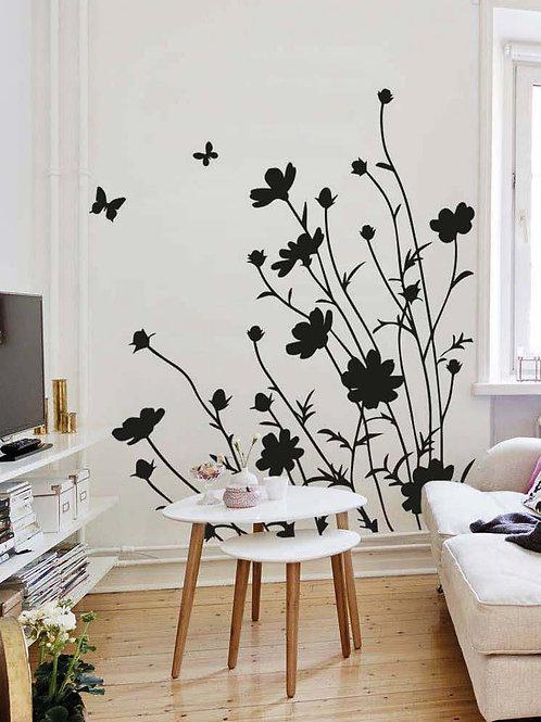 Mariposas, flores y hierbas