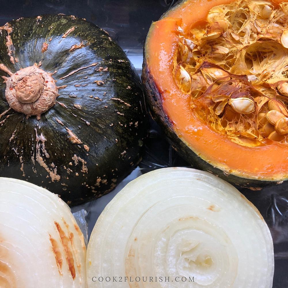 Roasted onion & kabocha ready to be pureed