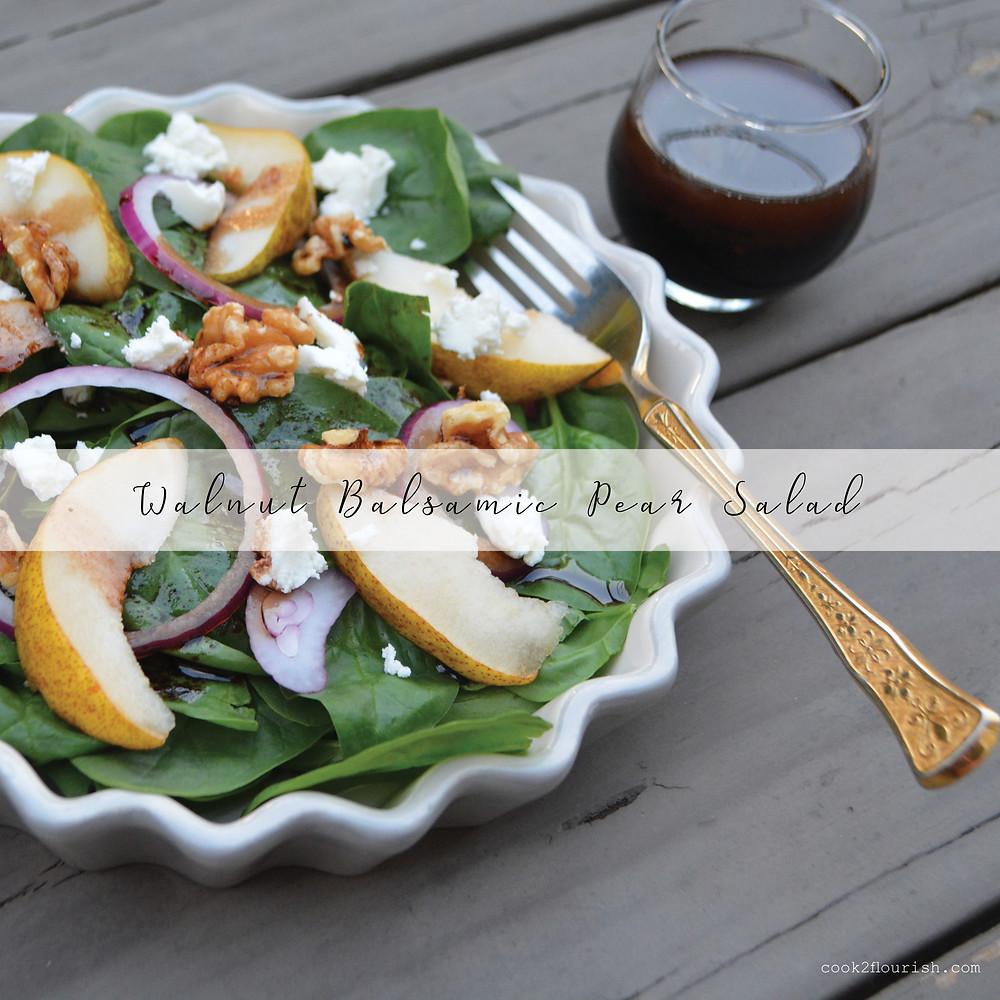 walnut balsamic pear salad