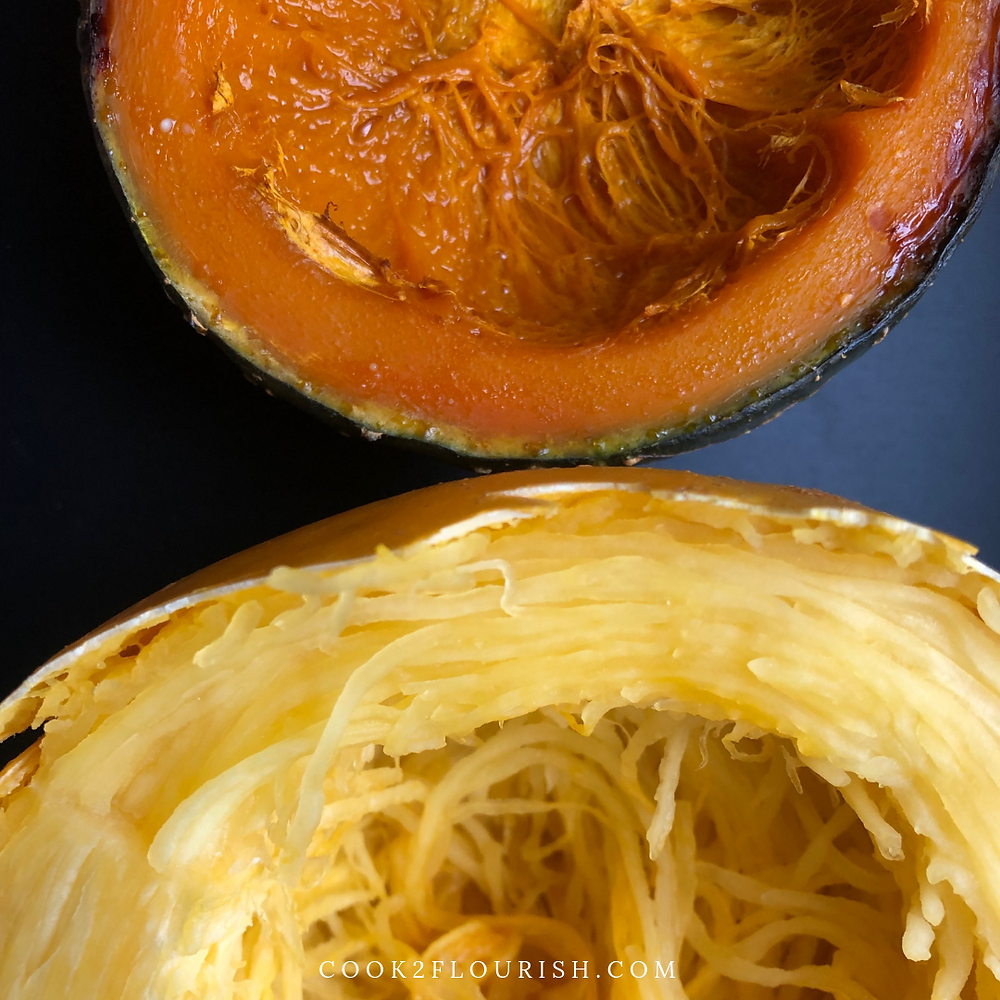 Simply scoop out the spaghetti squash and kabocha squash seeds.