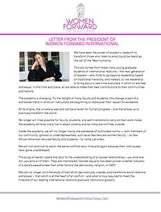 Women Forward International Letter from the President, Kent David-Packard