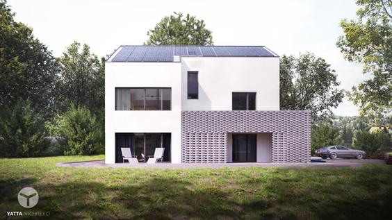 dom z opaską z cegły