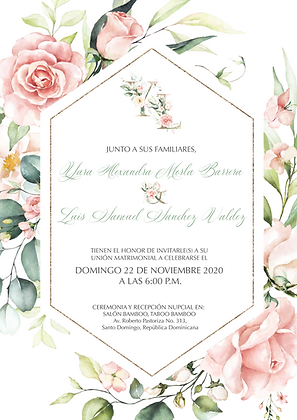 Invitación de Boda - Blush Pink and Greenery