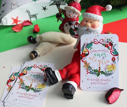 Tarjeta Navidad - Amor y Alegría
